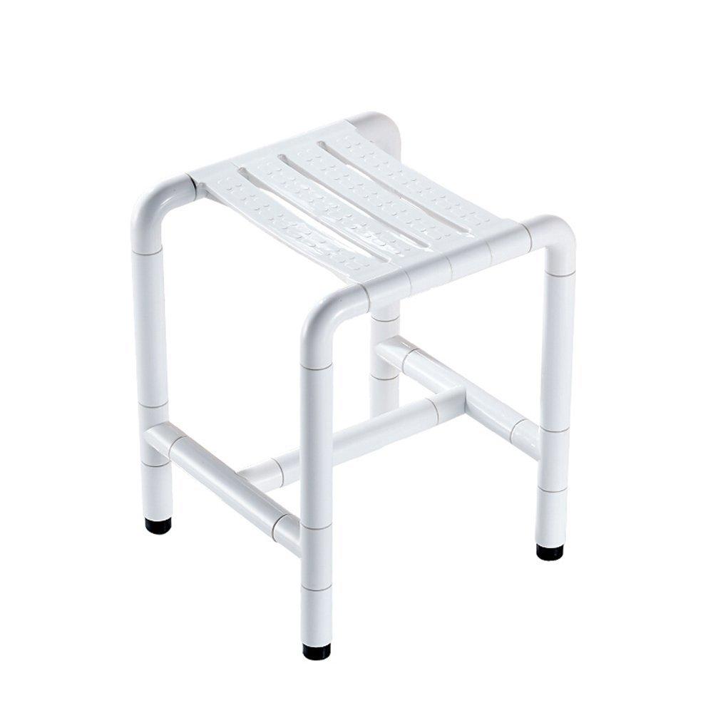 バスチェアステンレススチールナイロンシャワースツールノン/スリップノンスリップバススツールホワイトイエローベアリング約600ポンド (色 : 白) B07G17ZDT8 白 白