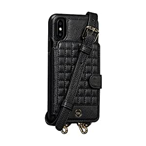 Sena Crossbody Snap on - Hands Free Drop Safe Crossbody quilted wallet case for iPhone X - Black