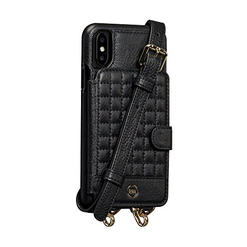 - Sena Crossbody Snap On - Hands Free Drop Safe Crossbody Quilted Wallet Case For Iphone X - Black