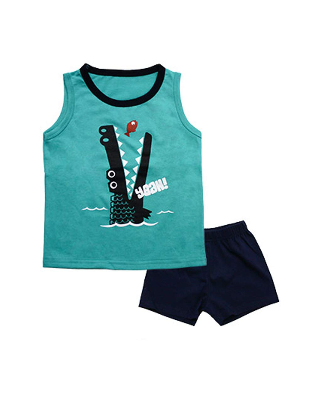 10STAR11 Boys Unique 100% Cotton Durable Vivid Printing T-Shirt and Shorts Clothing Set S266,7
