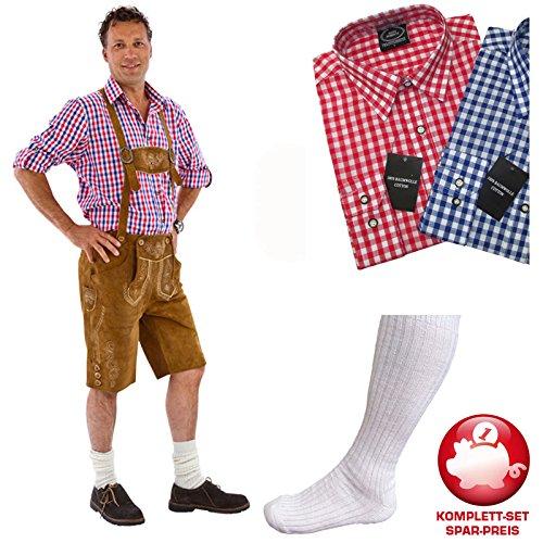 PARTY DISCOUNT Kostüm-Set Trachtenhose & rot-weißes Hemd Gr. 58