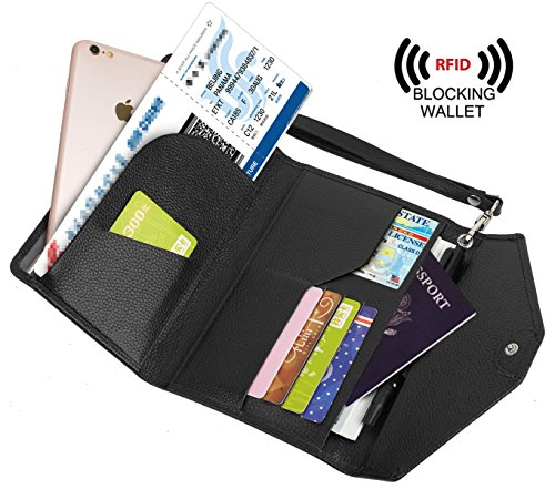 YALUXE Blocking Wristlet Passport Checkbook