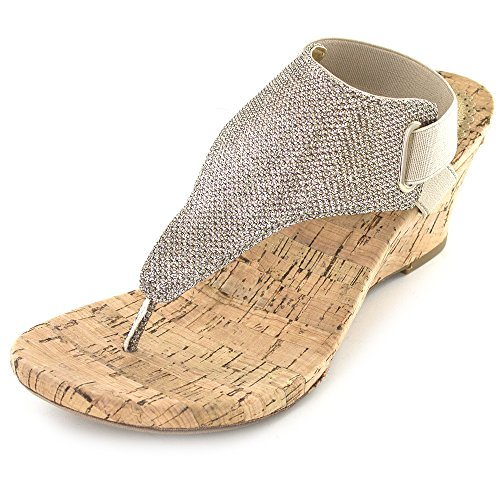 WHITE MOUNTAIN Women's All Good Wedge Sandal, Light Gold Glitter, 8 M US - Light Gold Sandals