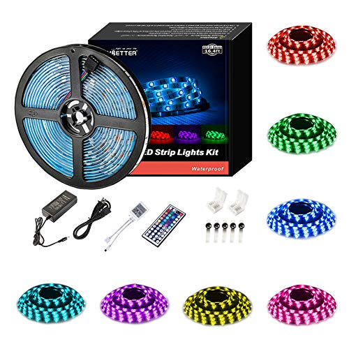 Chroma Key Kits - Led Strip Lights Waterproof 16.4ft 5m Flexible Color Changing RGB SMD 5050 150leds LED Strip Light Kit with 44 Keys IR Remote Controller and 12V Power Supply
