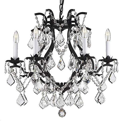 Wrought Iron Crystal Chandelier Lighting H 19″ X W 20″ Swag Plug in-Chandelier W/ 14' FEET of Hanging Chain and Wire Great