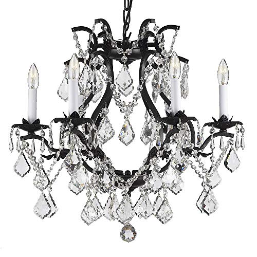 "WROUGHT IRON CRYSTAL CHANDELIER LIGHTING!H 19"" X W 20"" SWAG PLUG IN-CHANDELIER W/ 14"