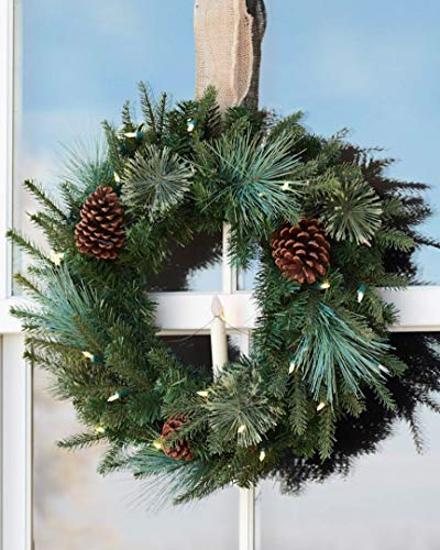 Balsam Hill Mixed Evergreen Prelit Artificial Christmas Window Wreath, 22 inches, Clear LED Lights ()