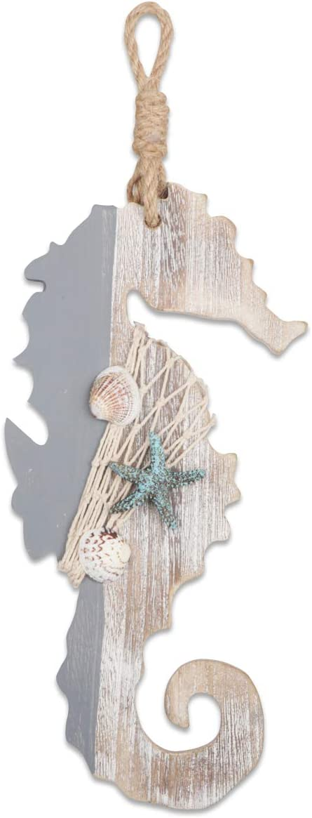 "YiYa 11.8"" Wooden Decor Seahorse with Starfish and Shells for Nautical Decoration, Wall Decor Door Hanging Ornament Beach Theme Home Decoration"