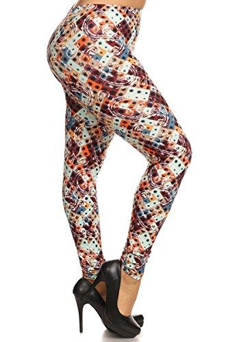 R537-PLUS Pretty Paisley Print Fashion Leggings