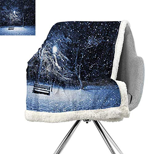 Bench Brookstone - ScottDecor Winter Blanket Small Quilt,View of a Bench and Lantern at The Park in Dark Snowy Night Windy Storm Print,Dark Blue Silver,Print Digital Printing Blanket W59xL78.7 Inch