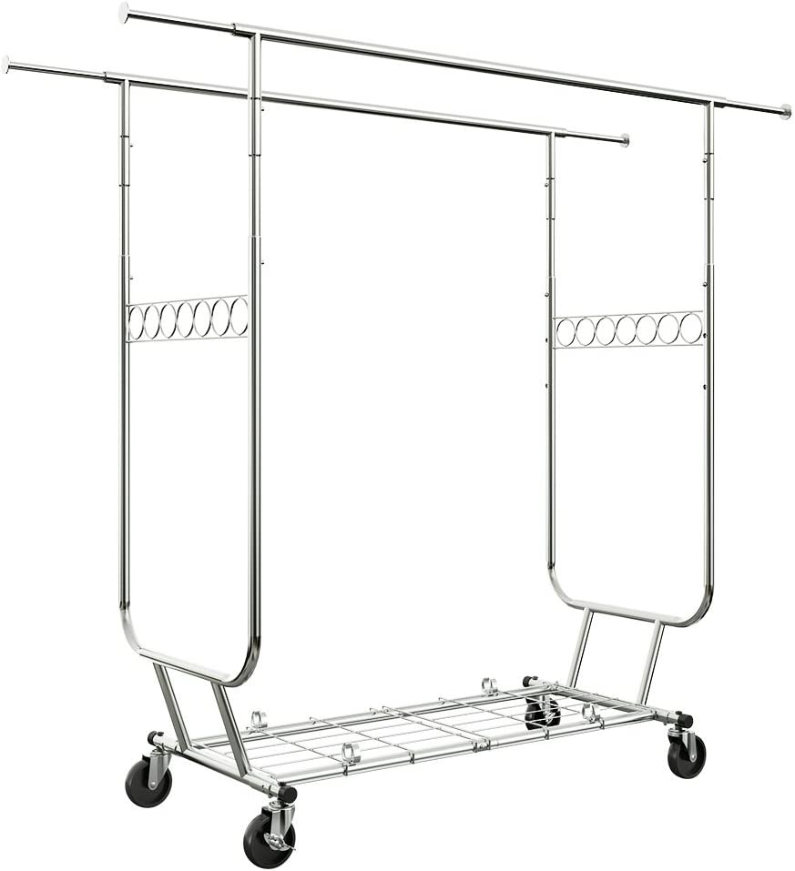 LANGRIA Heavy Duty Rolling Commercial Double Rail Clothing Garment Rack