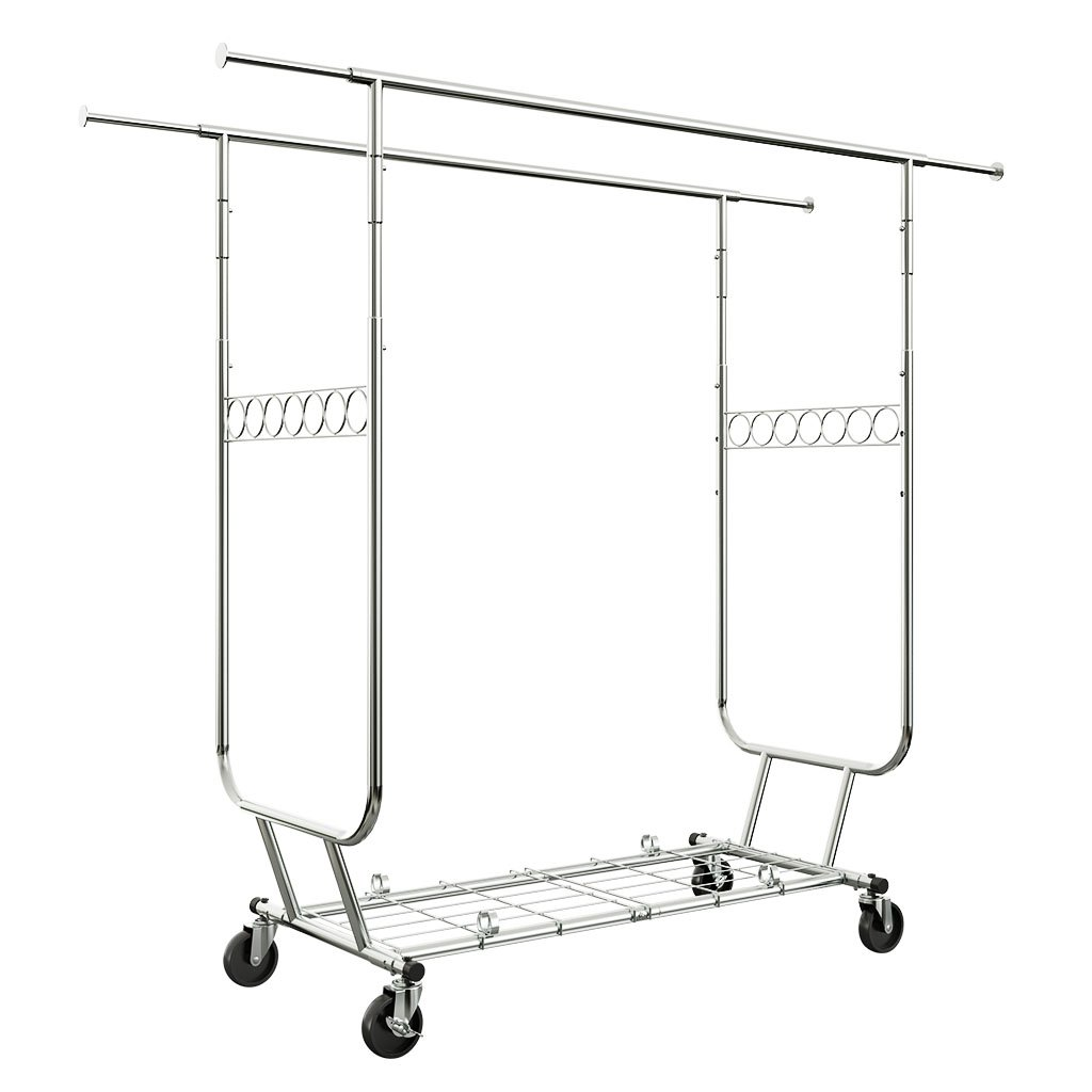 Langria heavy duty rolling commercial double rail clothing garment rack with wheels expandable rods collapsible clothes rack max load capacity 287 lbs for