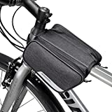 Winkeyes Bike Frame Bag Top Tube, Front Bag, Bicycle Handlebar Bag Outdoor Cycling Bike Bag Pack Storage for IPhone X Wallet Keys Snacks Sunglasses Water Resistant