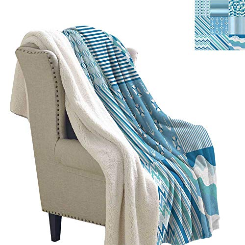 Jinguizi Baby Shower Nautical Dots Stripes Lightweight Blanket Zig Zag Chevron Wavy Anchor Life Belt Geometric Sofa,Soft Cozy 60x32 Inch Teal Turquoise -