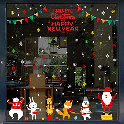 Echolife 2-Pack Colorful Christmas Window Clings Decal Stickers Removable Snowflake Christmas Tree, Santa Claus, Snowman DIY Holiday Xmas Decor (Animals)