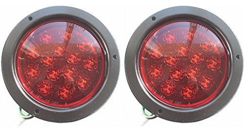 SET OF 2 Red 5 3/8 Flush Mount ROUND LED Stop Turn Tail Lights for Truck Trailer