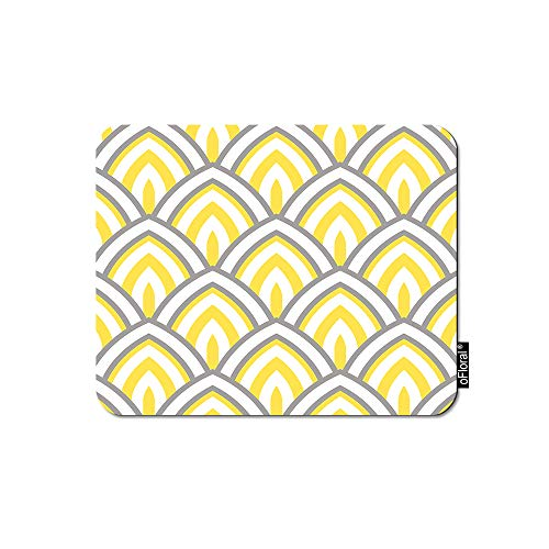 - oFloral Geometric Mouse Pad Gaming Mouse Pad Lotus Petal Scales Modern Yellow Chevron Print Decorative Mousepad Rubber Base Home Decor for Computers Laptop Office 7.9X9.5 Inch