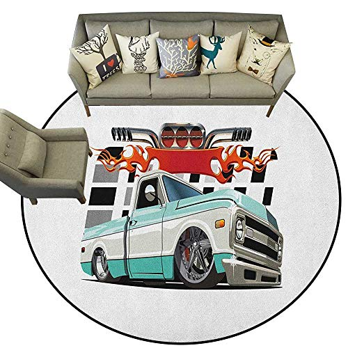 Truck,American Floor mats Lowrider Pickup with Racing Flag Pattern Background Speeding on The Streets Modified D48 Home Bedroom Floor Mats