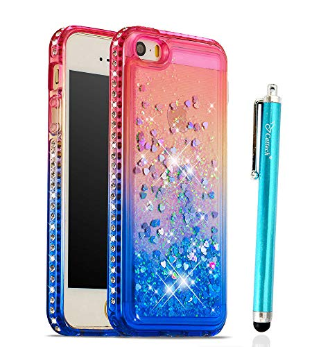 Glitter Case for iPhone 5/5S/SE, Cattech Liquid Quicksand Waterfall Flowing Sparkle Shiny Bling Diamond Luxury Pretty Fashion Cute Girls Women for iPhone SE iPhone 5 5S Case + Stylus (Pink/Blue)