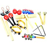 ilovebaby 10 PCS Instruments Set with Maracas, Rhythm sticks, Nylon Wrist Bell, Wood Sounder, Triangle with striker, Cymbals, Castanets, Bells, Maracas Eggs and Rattle with a Red Zipper Carrying Case
