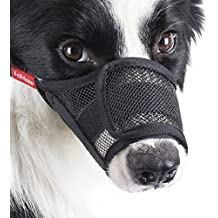 FOMATE Dog muzzle guard, Anti biting quick easy fit for Long Snout Breeds. Gentle mesh mask mouth cover muzzle for training and walking. (Medium)