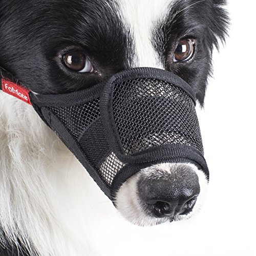 Dog muzzle, Anti biting gentle mesh mask quickly fit long snout doggie mouth cover (Medium)