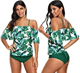 Memory baby Womens Swimsuit Two Piece Leaf Printed Off Shoulder Flounce Bathing Suit S-XXL