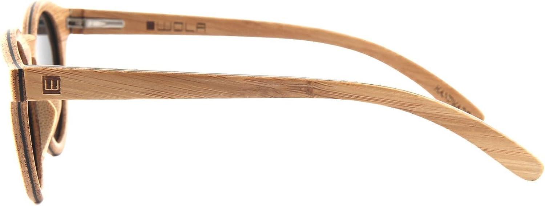Wola Gafas De Sol Madera - Selva Lentes Mujer, Polarizadas En Skateboard Wood, Redondas Uv400 Beige