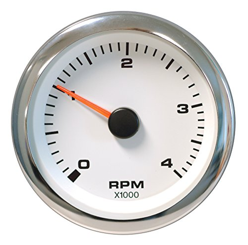 Sierra International 62547P White Premier Pro Electric Tachometer for Diesel Alternator, 3