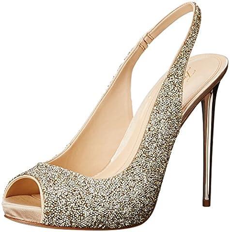 Imagine Vince Camuto Women's Im-Pavi Dress Pump, Crystal/Soft Gold, 8 M US - Slingback Platform Heels