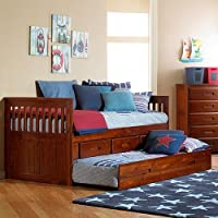 Discovery World Furniture Merlot Twin Rake Bed With 3 Drawer Storage and Bottom Trundle