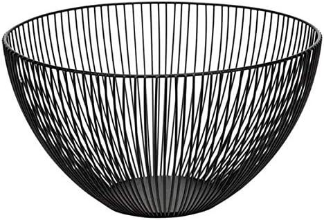 金属ワイヤフルーツボウル、ラウンドブラックフルーツ野菜バスケット、キッチンカウンターサイズのパンストレージボウルホルダースタンド:25x14.5cm