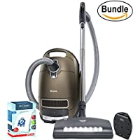 New Miele Complete C3 Brilliant Canister Vacuum Cleaner, Corded - ReVIVE Rapid Dual USB 6 Outlet Wall AC Adapter, & 10123210 AirClean 3D Efficiency Dust Bag, Type GN, 4 Bags & 2 Filters (Bundle)