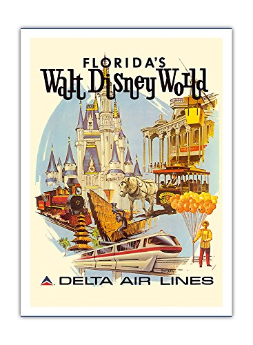Florida's Walt Disney World - First Year of Operation - Delta Air Lines - Vintage Airline Travel Poster by Daniel C. Sweeney c.1971 - Premium 290gsm Giclée Art Print - 12in x 16in