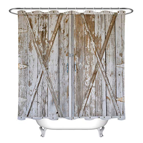(LB Retro Wood Barn Door Shower Curtain,3D Printing Western Style Wood Print Farm Shower Curtain Waterproof Polyester Fabric 72x72 Inch with Hooks)