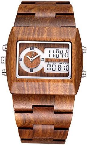 JIANGYUYAN Mens Fashion Classic Casual Vintage Wooden Wood Watches Digital Luminous Calendar Wrist Watch
