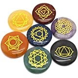 Mystic Ayurveda Healing Crystals – 7 Polished, Engraved Stones to Balance Chakras Holistic Health Care Products