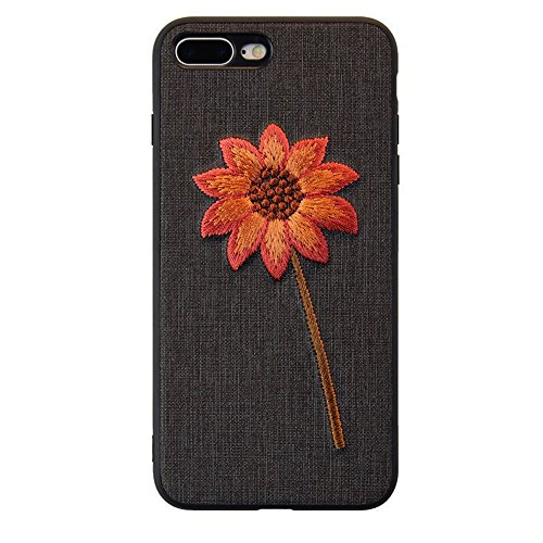 iPhone 7 Plus Case, ALBK Light Weight Shockproof Case Scratch-Resistant Cover for Apple iPhone 7 Plus/iPhone 8 Plus Design Embroidered Gold Chrysanthemum - Black(5.5Inches) (Embroidery Case)