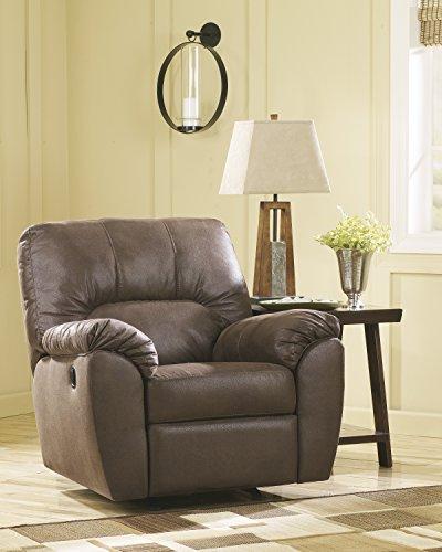 Amazon Contemporary Walnut Fabric Rocker Recliner Chair