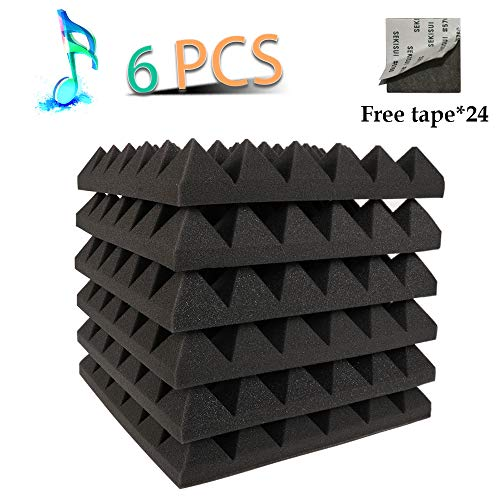 Acoustic Panels Absorption Pyramid Studio Foam Sound Proof Panels Nosie Dampening Foam 6 Pack-12''12''2''