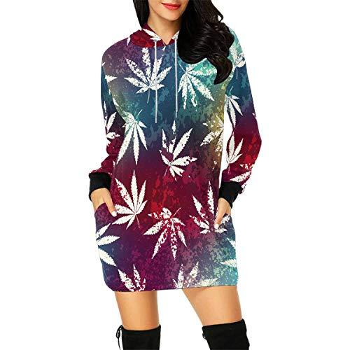 Weed Leaves Women's Long Sleeve Hoodie Mini Dress Sweatshirt Large ()