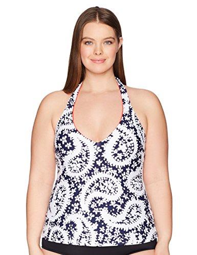 Anne Cole Women's Plus-Size Halter Tankini Swim Top, Navy White Floral, 16W (Cole Anne Swimsuit Halter)