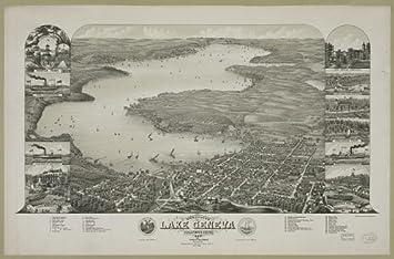 24x36 Vintage Reproduction Map Lake Geneva Wisconsin Walworth County 1882