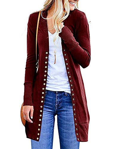 MYIFU Womens Solid Color Long Sleeve Ribbed Neckline Knit Cardigans with Snap Button Down