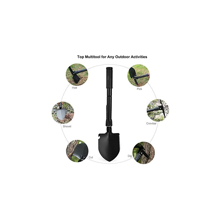 Z ZANMAX Foldable Military Shovel Mini Emergence Survival Compass Spade Entrenching Tool with Carrying Pouch for Camping, Hiking, Backpacking, Gardening with Rubber Handle (41.5cm/16.34in)