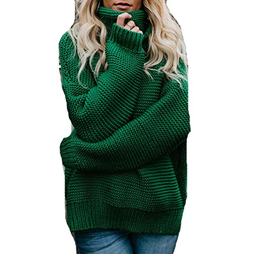 Cyose Fashion Women Pullover Jumper Turtleneck Female Jumper Women ThickCable Knitted Oversized Green M