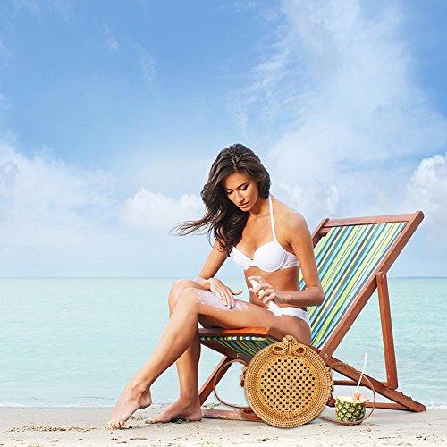à mode rétro la Découpe d'été femmes Sac Bohème circulaire Papillon tressé plage tissé la main rotin de Sac rond de Sac à Sac plage en pour w0qxw1