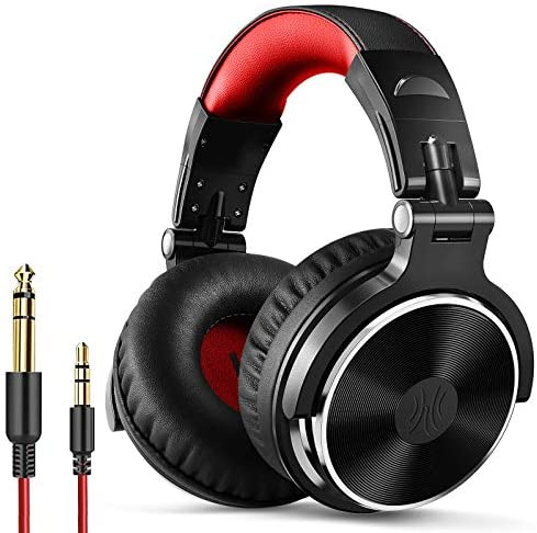OneOdio Over Ear Headphone, Wired Bass Headsets with 50mm Driver, Foldable Lightweight Headphones with Shareport and Mic for Recording Monitoring Podcast Guitar PC TV - (Red)