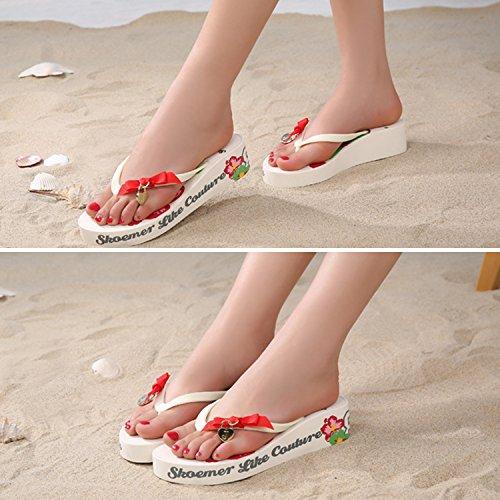 Beach Compensées Blanc Frestepvie Vacances Plage Sandales Picine Plates Flip Femme Tongs Mules Bohémien Flops Chaussures Fleur Eté 7xwr7vf