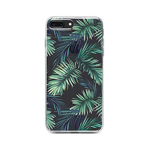 iPhone 8 Plus,iPhone 7 Plus,iPhone 6S/6 Plus Clear Case (5.5 inch) Obbii Unique Palm Tree Leaves Design Hard Shell Solid PC Back+ Soft TPU Bumper Protective Case for iPhone 8/7/6S/6 Plus